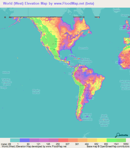 World Elevation Map Elevation And Elevation Maps Of Cities - Us-map-with-elevations