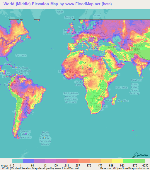 World Elevation Map Elevation And Elevation Maps Of Cities - Topographic map of the world