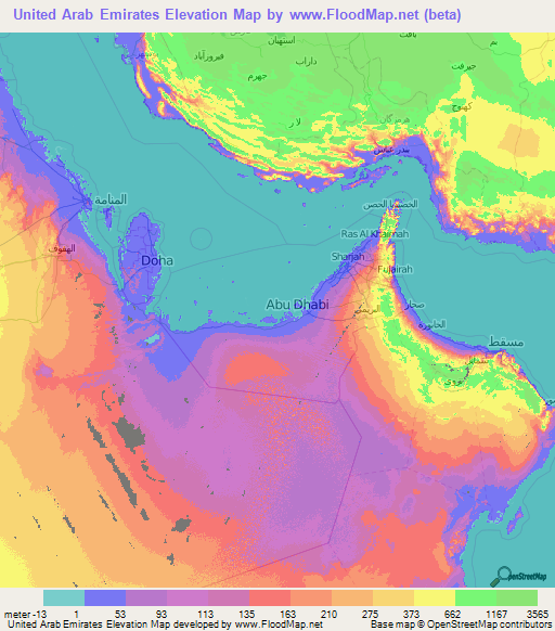 United Arab Emirates Elevation and Elevation Maps of Cities ...