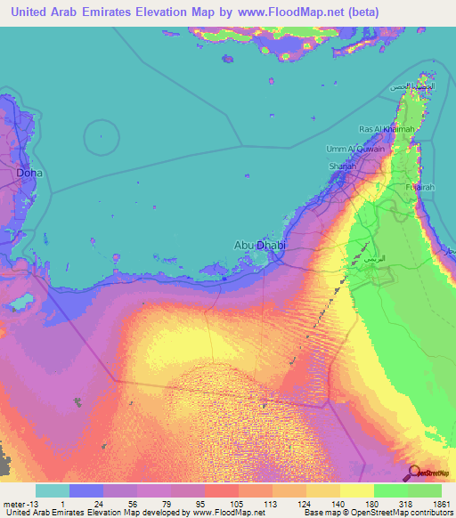 United Arab Emirates Elevation And Elevation Maps Of Cities - United arab emirates map