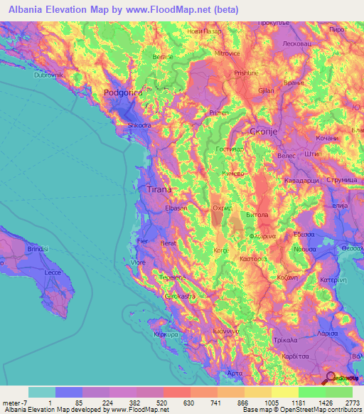 Albania Elevation And Elevation Maps Of Cities Topographic Map - Albania map