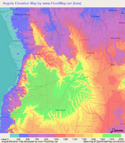 Angola Elevation And Elevation Maps Of Cities Topographic Map Contour - Angola provinces map