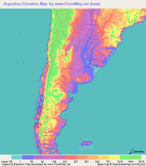 Argentina Elevation And Elevation Maps Of Cities Topographic Map - Argentina map cities