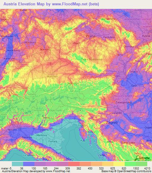 Austria Elevation And Elevation Maps Of Cities Topographic Map - Map of austria cities