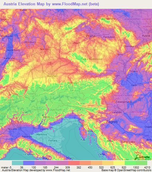 topographic map of austria Austria Elevation And Elevation Maps Of Cities Topographic Map