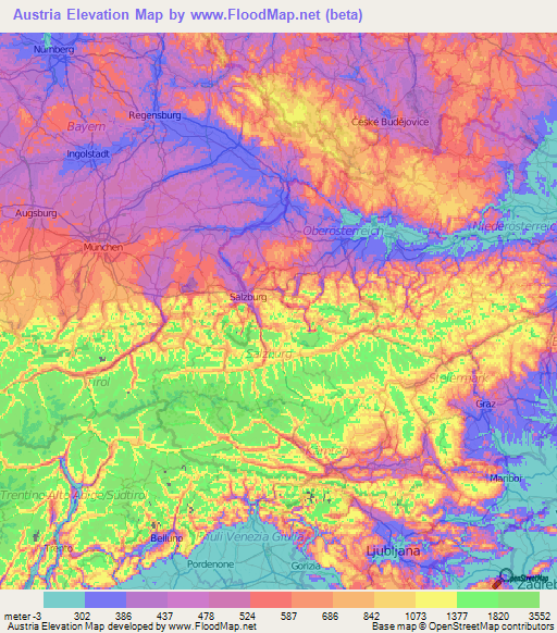 Austria Elevation and Elevation Maps of Cities, Topographic ...