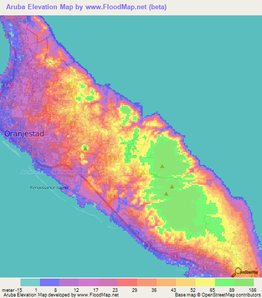 driving map of aruba Aruba Elevation And Elevation Maps Of Cities Topographic Map Contour driving map of aruba