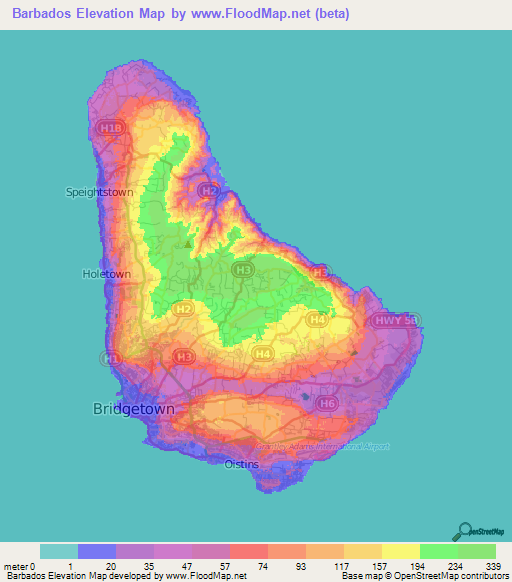 Barbados Elevation And Elevation Maps Of Cities Topographic Map - Barbados map