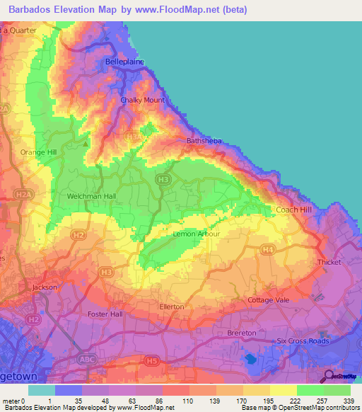 Barbados Elevation and Elevation Maps of Cities, Topographic ...