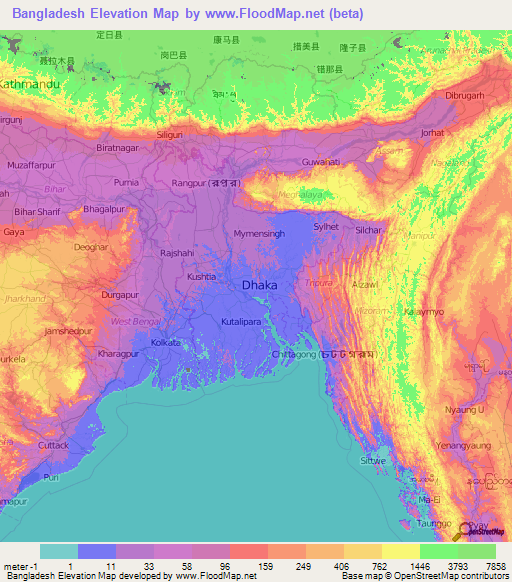 Bangladesh Elevation And Elevation Maps Of Cities Topographic Map