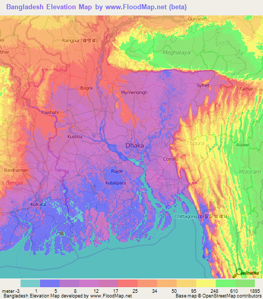Bangladesh Elevation And Elevation Maps Of Cities Topographic Map - Altitude above sea level map