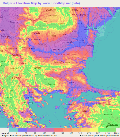 Bulgaria Elevation And Elevation Maps Of Cities Topographic Map - World elevation map shapefile