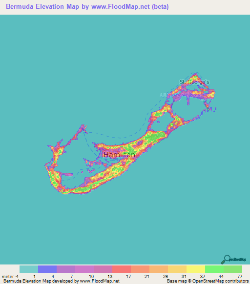 Bermuda Elevation and Elevation Maps of Cities, Topographic Map Contour