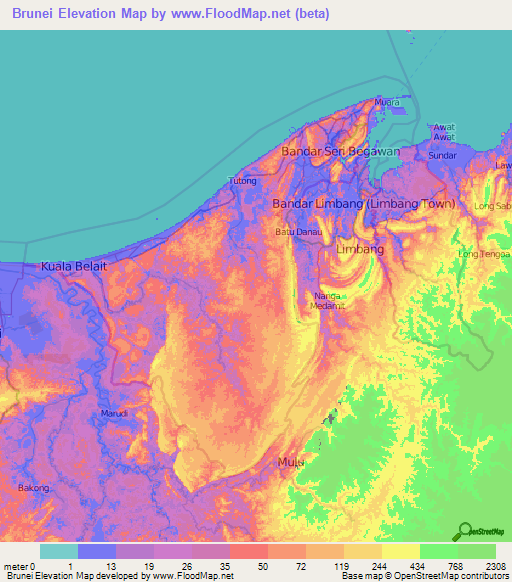 Brunei Elevation And Elevation Maps Of Cities Topographic Map Contour - Brunei map
