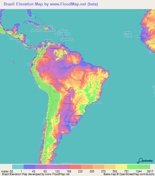 Brazil Elevation and Elevation Maps of Cities, Topographic ...