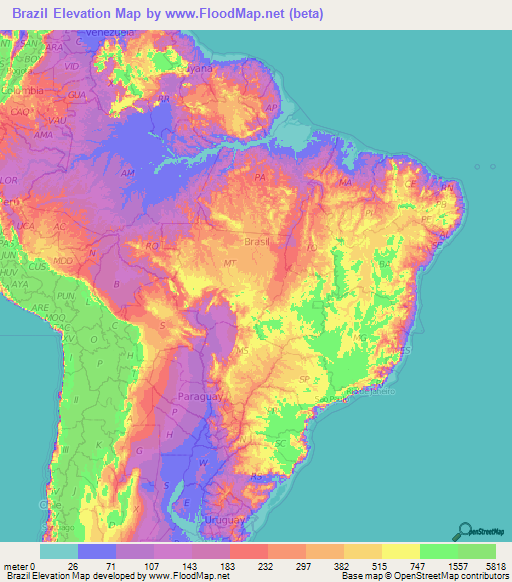 Brazil Elevation and Elevation Maps of Cities, Topographic Map Contour