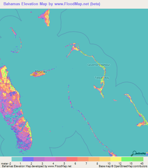 Bahamas Elevation and Elevation Maps of Cities, Topographic Map