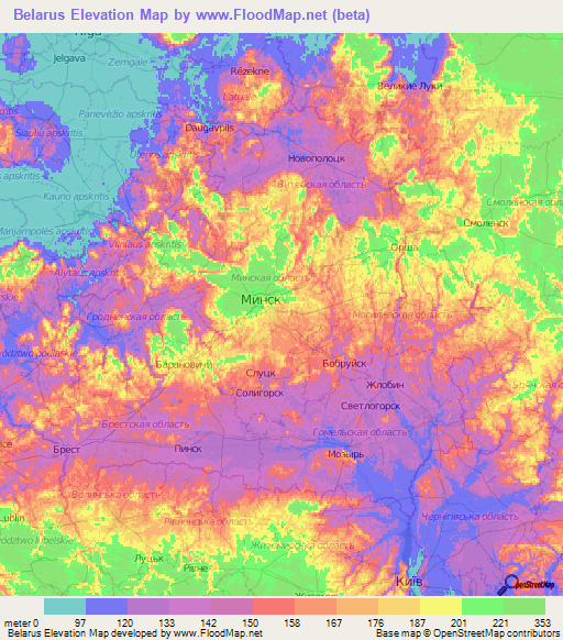 Belarus Elevation And Elevation Maps Of Cities Topographic Map - Belarus map