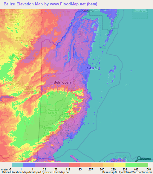 Belize Elevation and Elevation Maps of Cities, Topographic Map Contour