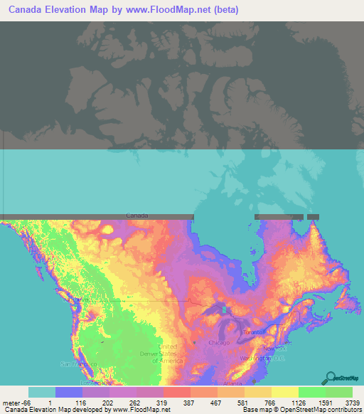 Canada Elevation and Elevation Maps of Cities, Topographic Map Contour