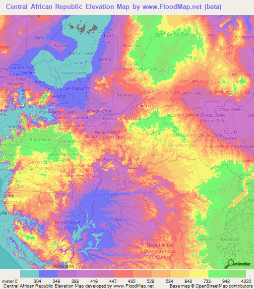 Elevation Map Of Africa With Key.Central African Republic Elevation And Elevation Maps Of