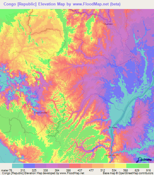 Congo (Brazzaville) Elevation and Elevation Maps of Cities ...
