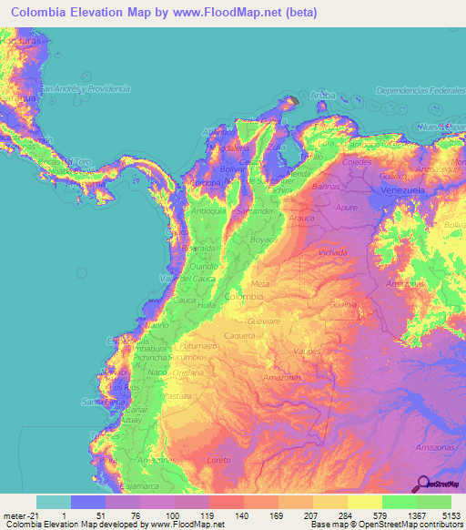 Colombia Elevation and Elevation Maps of Cities, Topographic Map