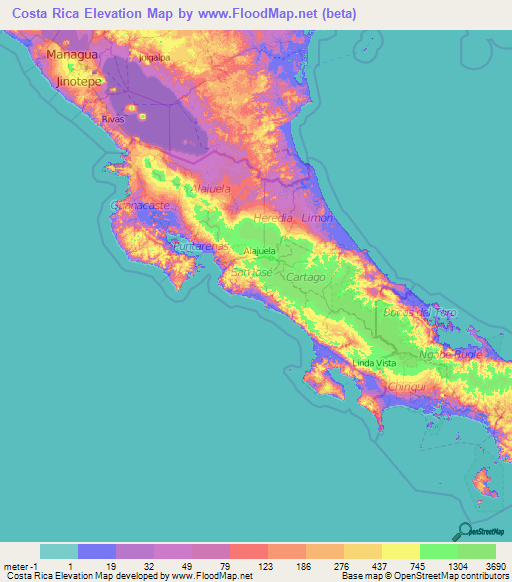 Costa Rica Elevation And Elevation Maps Of Cities Topographic Map - Map of costa rica
