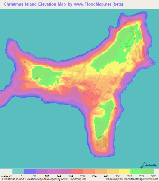 Christmas Island Elevation and Elevation Maps of Cities, Topographic Map Contour