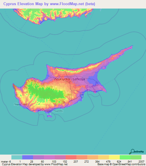 Cyprus Elevation And Elevation Maps Of Cities Topographic Map Contour - Cyprus map