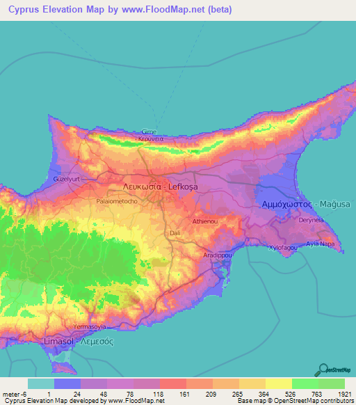 Cyprus Elevation and Elevation Maps of Cities, Topographic Map Contour