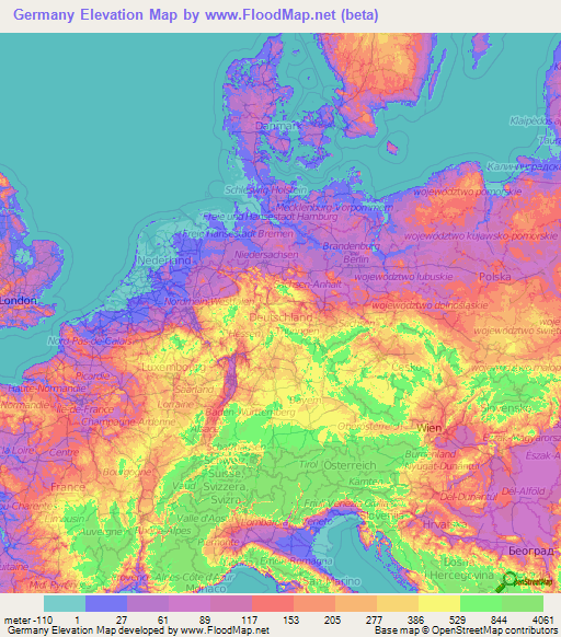 Germany Elevation and Elevation Maps of Cities, Topographic Map Contour