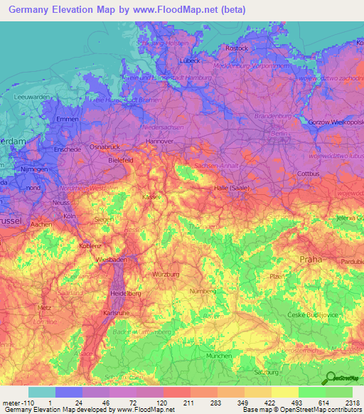 Elevation Map Of Germany.Germany Elevation And Elevation Maps Of Cities Topographic Map Contour