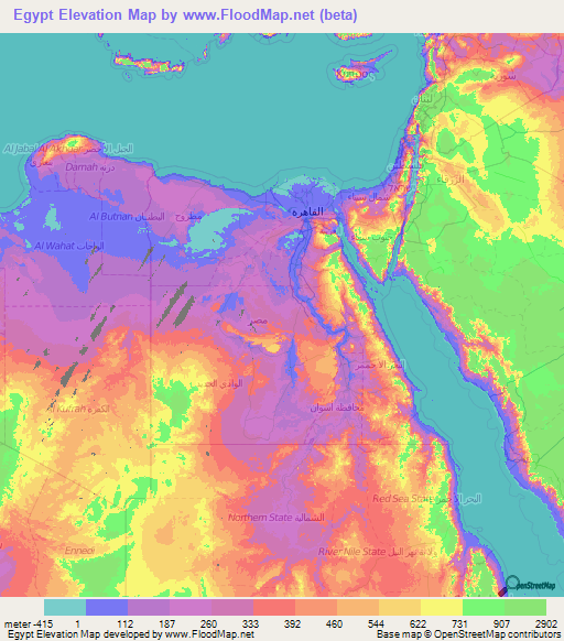 Egypt Elevation and Elevation Maps of Cities, Topographic Map Contour