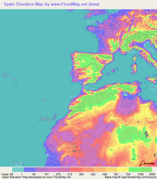 Spain Elevation Map ...
