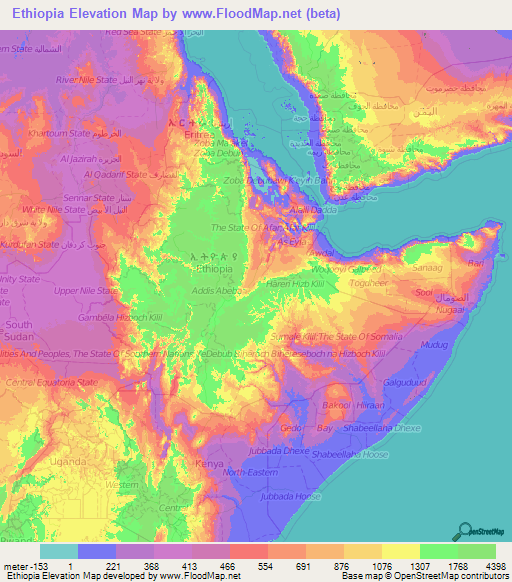 Ethiopia Elevation and Elevation Maps of Cities, Topographic Map Contour