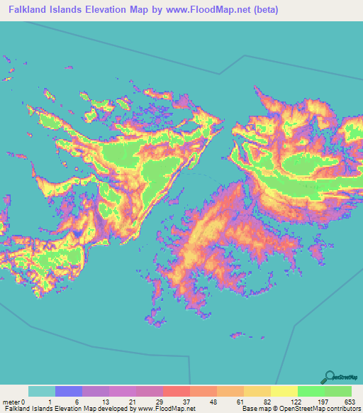 Falkland Islands Elevation And Elevation Maps Of Cities - Falkland islands map