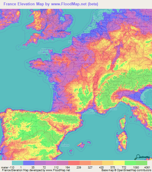French Floods Map France Elevation and Elevation Maps of Cities, Topographic Map Contour