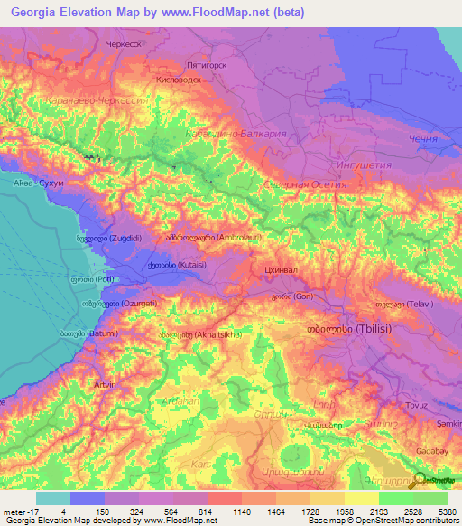 Elevation Map Of Georgia.Georgia Elevation And Elevation Maps Of Cities Topographic Map Contour
