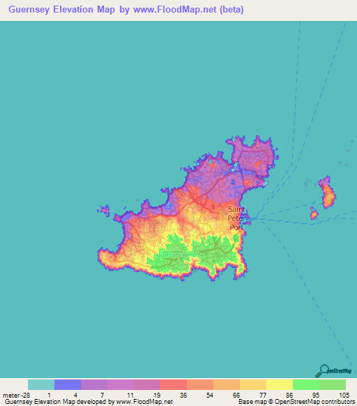 Guernsey Elevation and Elevation Maps of Cities, Topographic ... on