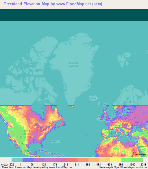 Greenland Elevation and Elevation Maps of Cities ...