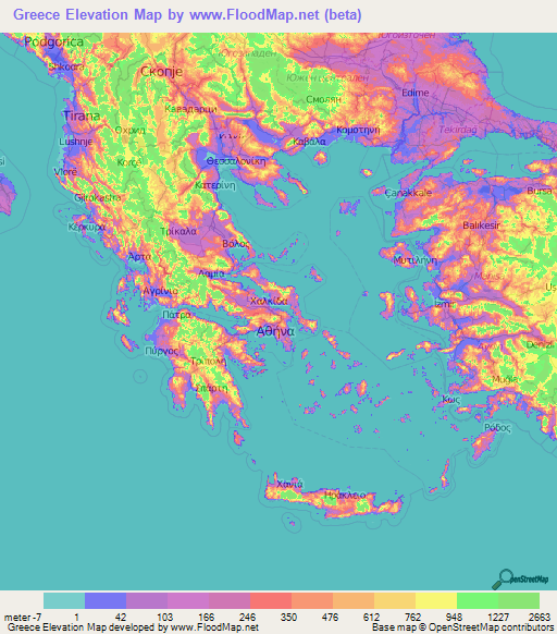 Greece Elevation and Elevation Maps of Cities, Topographic ...