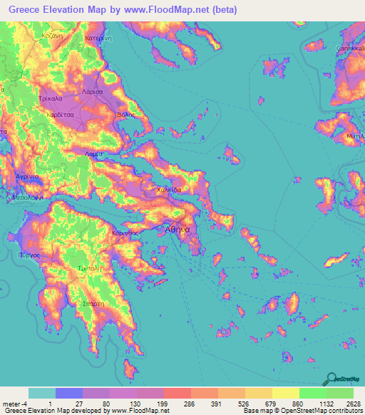 Greece Elevation and Elevation Maps of Cities, Topographic Map Contour
