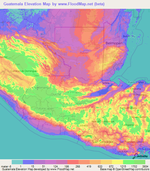 Guatemala Elevation and Elevation Maps of Cities, Topographic Map ...