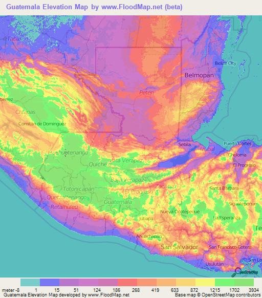 topographic map of guatemala Guatemala Elevation And Elevation Maps Of Cities Topographic Map