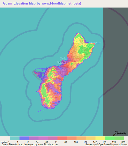 Guam Elevation And Elevation Maps Of Cities Topographic Map Contour - Guam world map