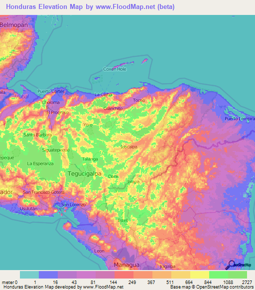 Honduras Elevation And Elevation Maps Of Cities Topographic Map - Hondurus map