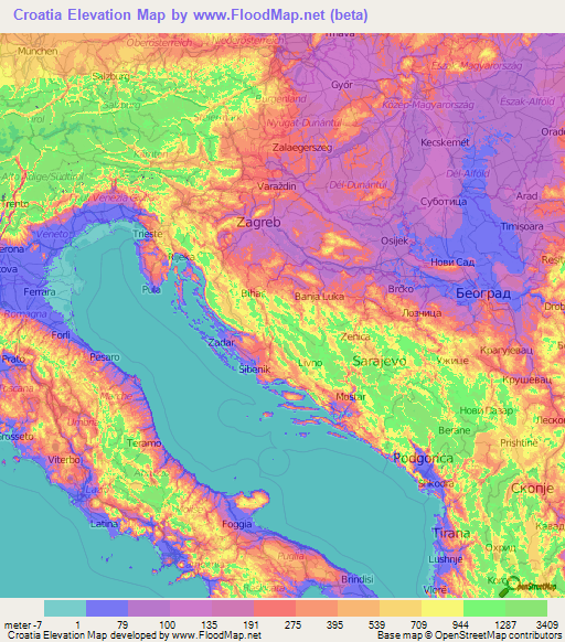 Croatia Elevation and Elevation Maps of Cities, Topographic ...