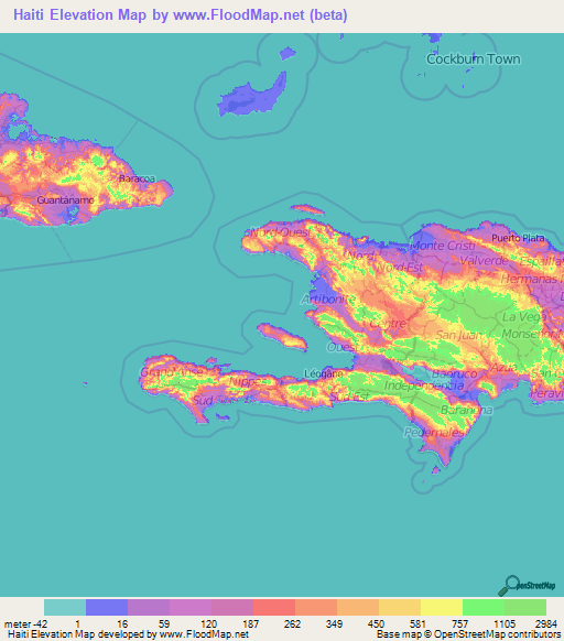 Haiti Elevation and Elevation Maps of Cities, Topographic Map Contour