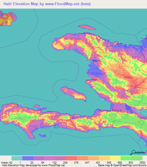 Haiti Elevation And Elevation Maps Of Cities Topographic Map Contour - Haiti maps